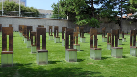 Field Of Empty Chairs At The Oklahoma City National Memorial GIF