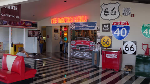 Route 66 Museum In Clinton Oklahoma USA With Vintage Objects GIF