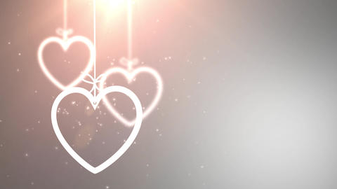 paper valentine hearts falling down hanging on string…, Stock Animation
