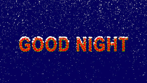 New Year text common expression GOOD NIGHT. Snow falls. Christmas mood, looped Animation