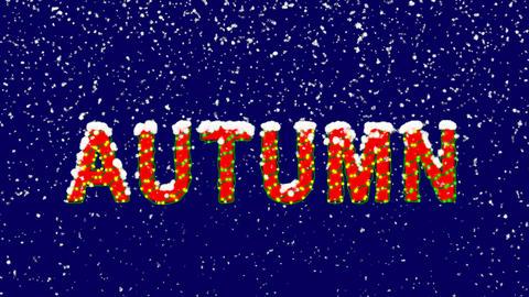 New Year text season name AUTUMN. Snow falls. Christmas mood, looped video. Animation