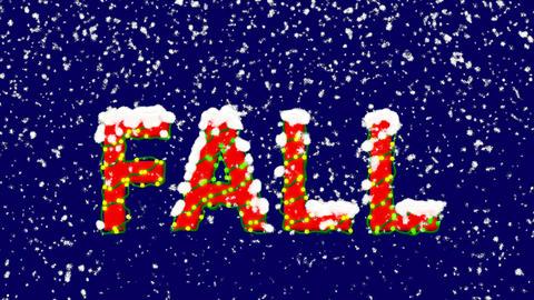 New Year text season name FALL. Snow falls. Christmas... Stock Video Footage