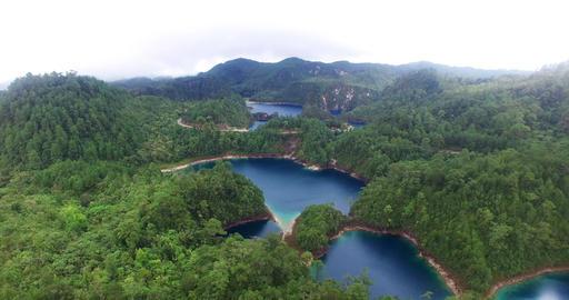 Stunning drone view of Cinco Lagos lagoons.TAKE 3 ビデオ