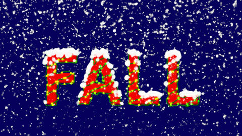 New Year text season name FALL. Snow falls. Christmas mood, looped video. Alpha Animation