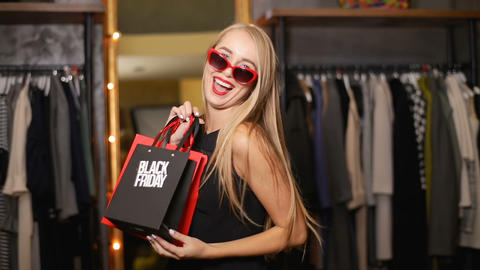 Thrilled Girl on Black Friday ビデオ