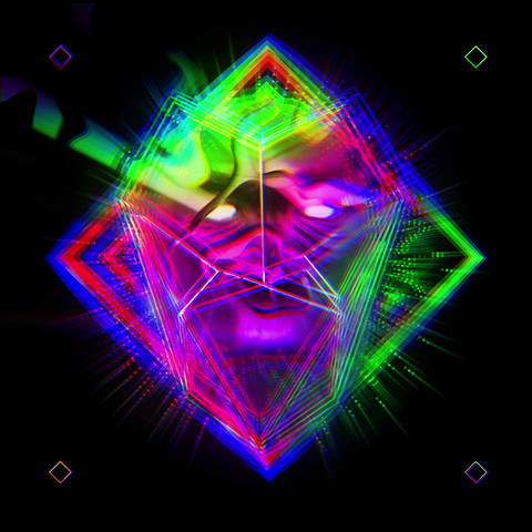 Colorful Psychedelic Darvin Glitching Statue Head With Diferent Geometrical Footage