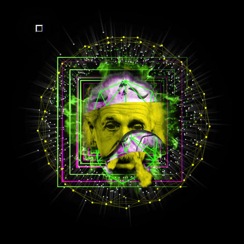 Black and White Sparkling Yellow Pink Violet Einstein Photo Head With Live Action