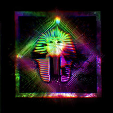 Pharaon Tutankhamun Golden Statue Ancient Egyprian Psychedelic Colorful Head VJ Footage