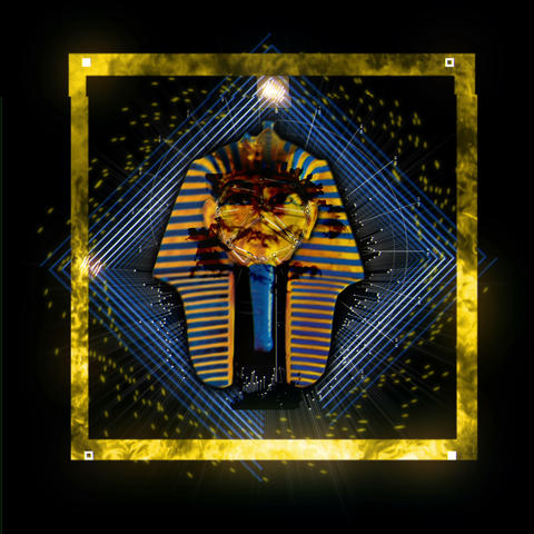 Pharaon Tutankhamun Ancient Golden Egyptian Head Sparkling WIth Different Colors Live Action