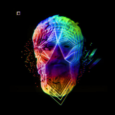 Psychedelic Colorsul Rainbow Shininy Sparkles Platon Head With DIfferent Footage