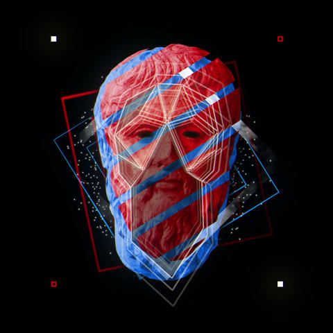 Red and Blue White Statue Glitching Ancient Platon Head with Geometrical Figures Live Action