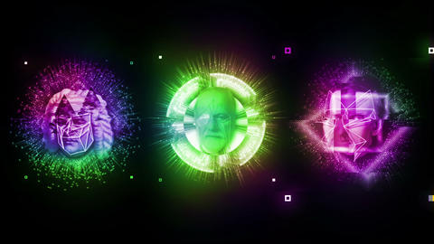 Trio Glitch Psychedelic Colorful Shining Energy VJ Loop Footage