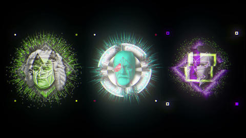 Trio Colorful Energy Glitch Historic People Heads VJ Loop Live Action