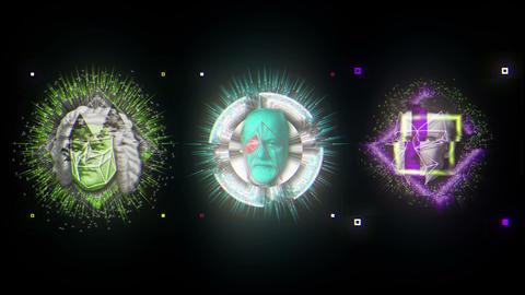 Trio Colorful Energy Glitch Historic People Heads VJ Loop Footage