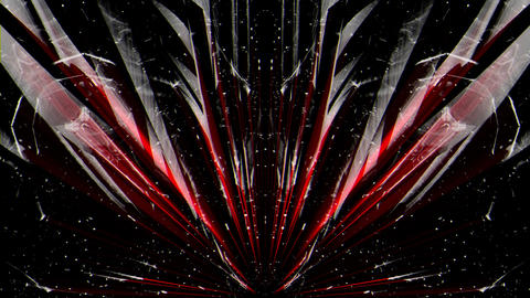Crystal Rotating Red and Whitre Rays Rising from the ground VJ Loop Live Action