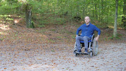 Disabled man in a wheelchair in a forest park Footage