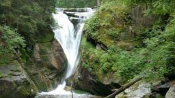 Szklarka Waterfall. Slow Motion. The Karkonoski National Park. Poland Footage
