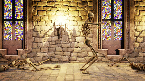 Seamless animation of skeletons dancing in a mystic castle. Halloween background Animación