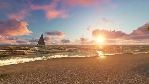 Beautiful sea beach at sunset. 3D Rendering Photo