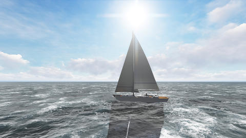 Yacht sailing on opened sea. Yacht from above. 3D Rendering Photo