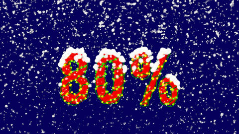 New Year text sale tag 80%. Snow falls. Christmas mood, looped video. Alpha Animation