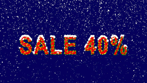 New Year text sale tag SALE 40%. Snow falls. Christmas mood, looped video. Alpha Animation
