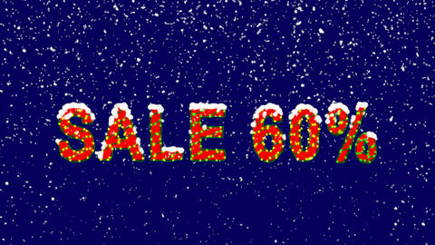 New Year text sale tag SALE 60%. Snow falls. Christmas mood, looped video. Alpha Animation