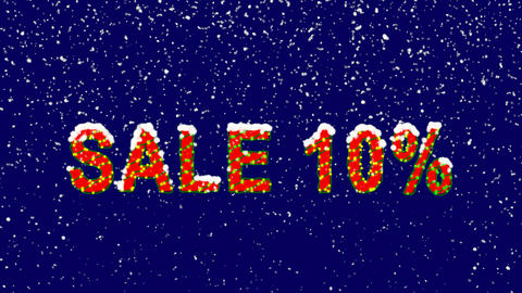New Year text sale tag SALE 10%. Snow falls. Christmas mood, looped video. Alpha Animation