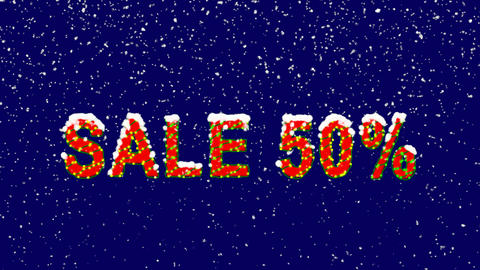 New Year text sale tag SALE 50%. Snow falls. Christmas…, Stock Animation