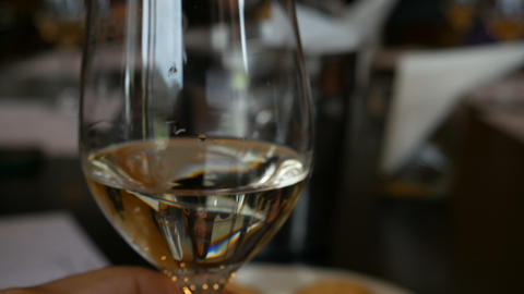 Wine glasses for wine tasting in fine dining winery with wine on table Live Action