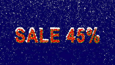 New Year text sale tag SALE 45%. Snow falls. Christmas mood, looped video. Alpha Animation
