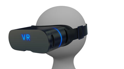 3d man in a virtual reality glasses looks around on white background. Seamless l Animation