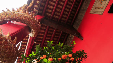 Camera Rounds Lantern Dragon At Indian Temple Porch stock footage