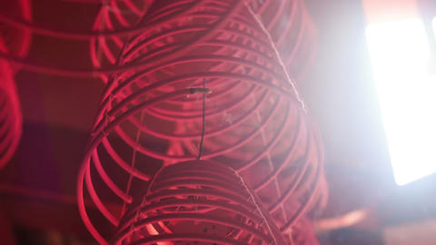 Camera Moves Upward by Spiral Wire Chinese Lantern Footage
