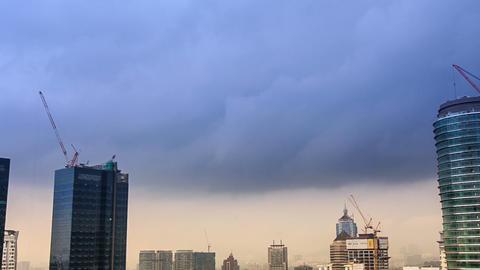 Skyscrapers Construction under Grey Clouds Footage