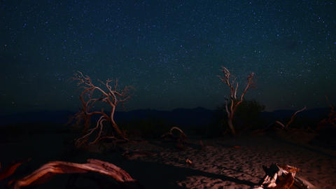 Death Valley Night Sky 01 Timelapse Milkyway 3 Axis Dolly Pan Mesquite Flat Sand Footage