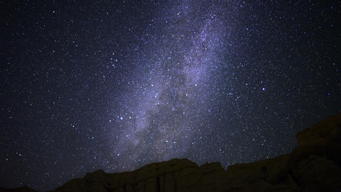 Milky Way Galaxy 47 Tilt Up Timelapse Mojave Desert Red Rock Canyon Live Action