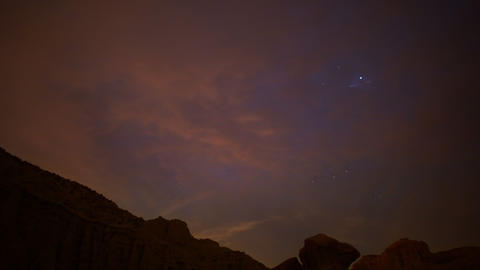 Milky Way Galaxy 66 Tilt Up Timelapse Mojave Desert Red Rock Canyon Footage