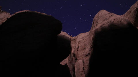 Red Rock Cayon LM11 Timelapse Moonlight Shadows on Rocks Tilt Up Footage