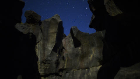 Volcanic Rock Formation LM01 Timelapse Moonlight Shadows Dolly R Tilt Up Footage