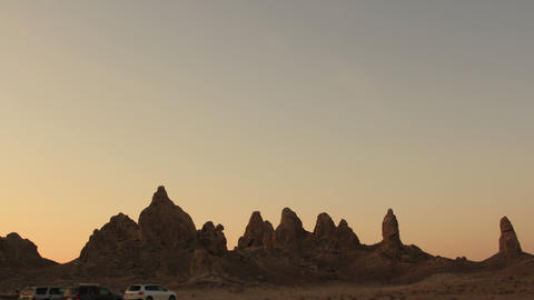 Trona Pinnacles LM33 Tilt Up Timelapse Night to Day Mojave Desert Footage