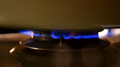Kitchen Gas Stove Fire Burning Footage