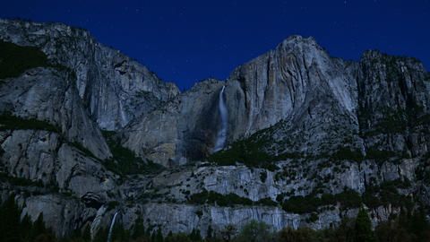Yosemite Falls Stars 05 Timelapse Zoom Out Footage
