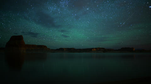 Lake Powell Milky Way 04 Tilt Up Time Lapse Stars Reflections Footage