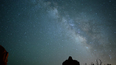Sedona Milky Way 14 Tilt Up Bell Rock Time Lapse Stars Footage
