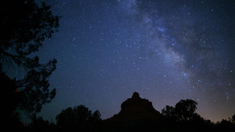 Sedona Milky Way 16 Dolly R and Pan Bell Rock Time Lapse Stars Footage