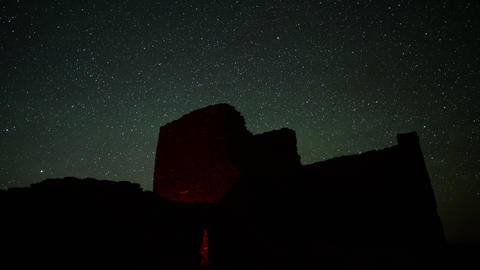 Wupatki Milky Way 02 Tilt Up Time Lapse Stars and Indian Ruins Footage
