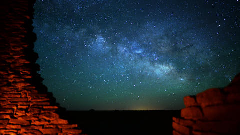 Wupatki Milky Way 05 TIlt Up Time Lapse Stars and Indian Ruins Footage