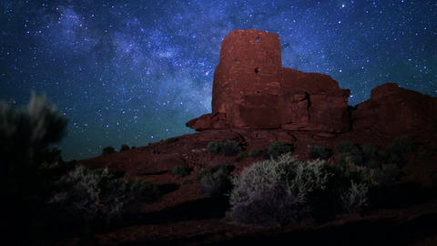 Wupatki Milky Way 12 Dolly and Pan Time Lapse Stars and Indian Ruins Footage