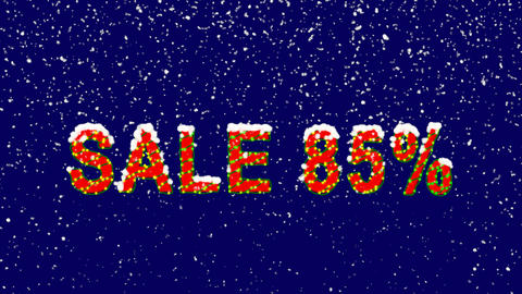 New Year text sale tag SALE 85%. Snow falls. Christmas mood, looped video. Alpha Animation
